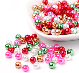 Christmas Mix Glass Pearl Beads