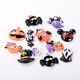 50 PCS Mixed Halloween Theme Resin Cabochons