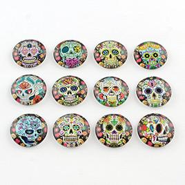 Half Round/Dome Candy Skull Pattern Glass Flatback Cabochons