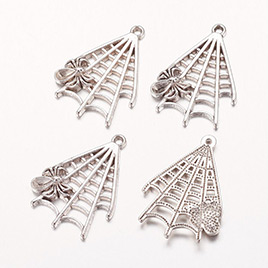 Halloween Jewelry Alloy Pendants, Spider in Web