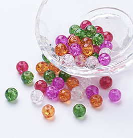 Crackle Glass Round Beads